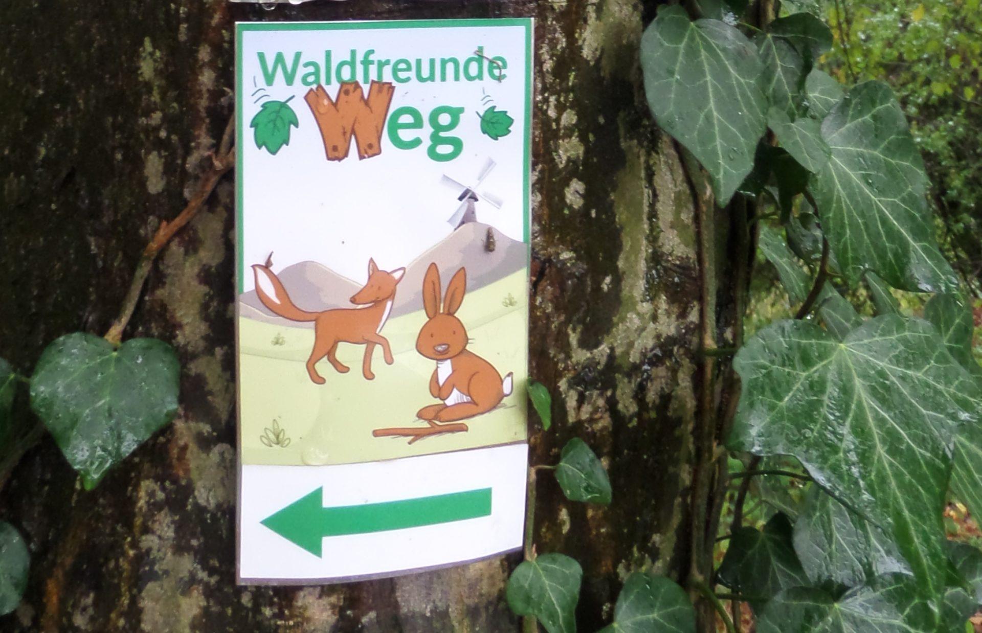"""Schil und Wegweiser """"Waldfreunde Weg"""" am Baum."""