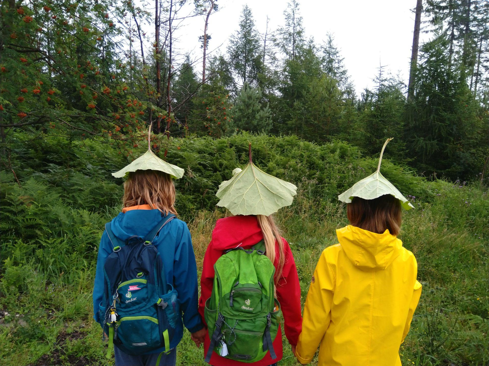 Drei Kinder stehen im Reden und nutzen große Blätter, um nicht nass zu werden