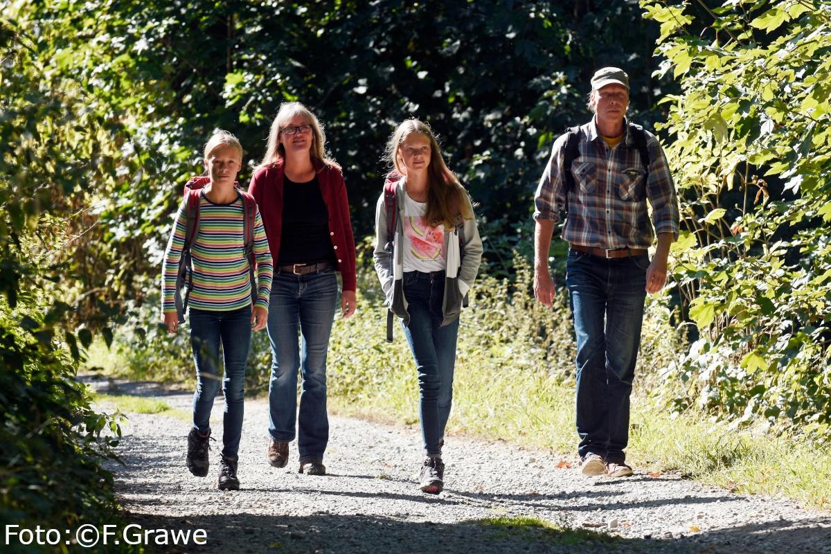 Eine Familie wandert auf einem steinigen Weg im Wald des Naturparks