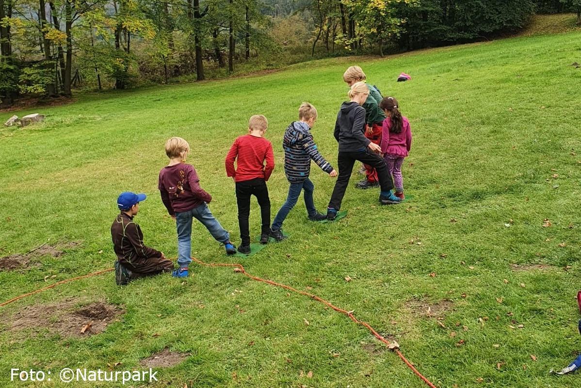 Sieben Kinder spielen nebeneinander auf einer grünen Wiese