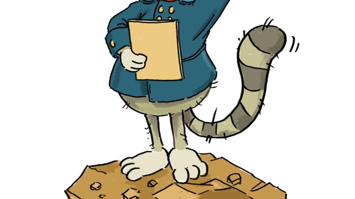 """Die gezeichneter Wildkatze """"Teutos"""" steht als Postbote verkleidet suchend auf einem Stein, unter welchem sich Mäuse amüsiert verstecken."""