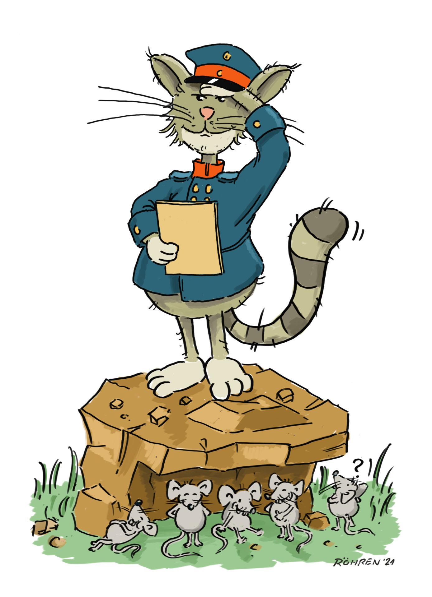 """Die gezeichnete Wildkatze """"Teutus"""" steht als Postbote verkleidet suchend auf einem Stein, unter welchem sich Mäuse amüsiert verstecken."""